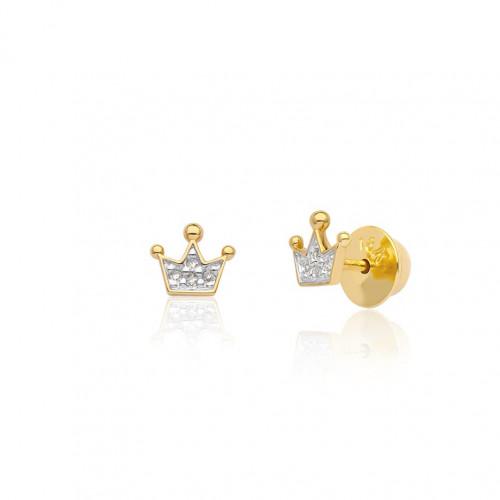 Brinco de ouro 18k coroa com brilhantes