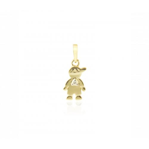 Pingente de menino ouro 18k diamante