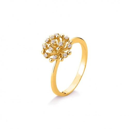 Anel chuveiro de ouro 18k com diamantes