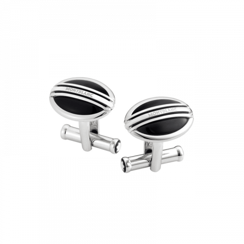 Abotoadura Montblanc Meisterstück Oval Aço/Onyx
