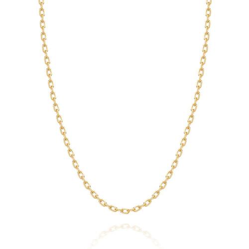 Corrente de ouro 18k elo cadeado oval 40cm