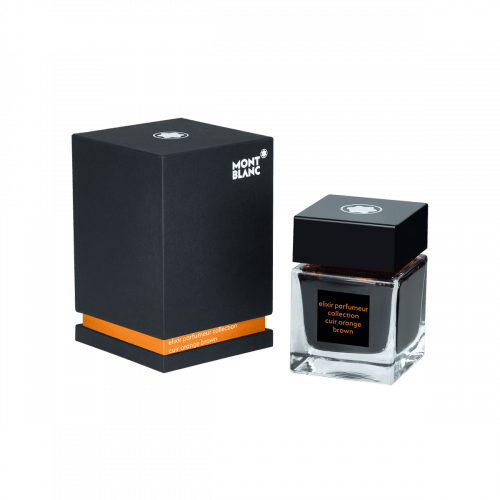 Frasco de tinta Montblanc 50 ml, Elixir Parfumeur, fragrância Couro, Laranja marrom