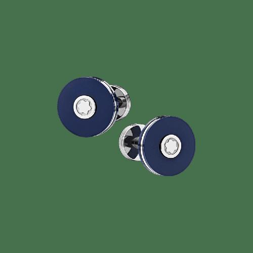 Abotoaduras Montblanc aço inoxidável com resina azul