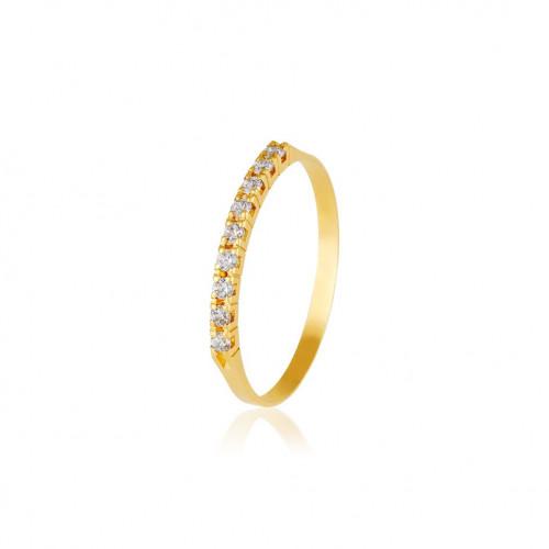 Anel meia aliança de ouro 18k diamantes