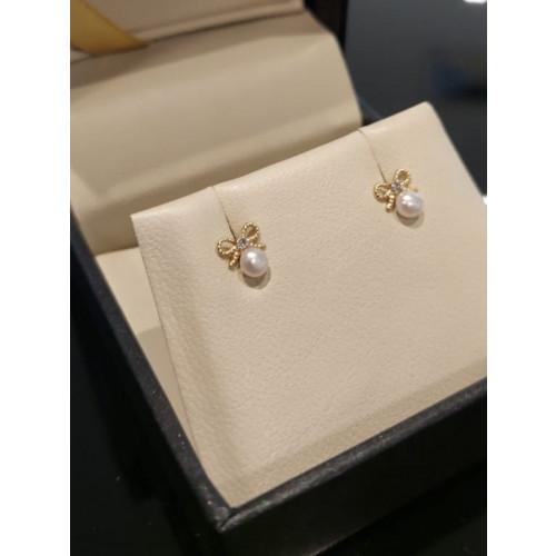 Brinco de ouro infantil laço com pérola diamantes