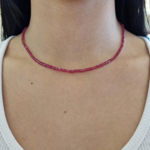 Gargantilha gemas naturais Espinélio Vermelho