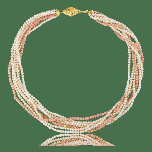 Colar de pérolas com dois fios de pedras corais - 44cm