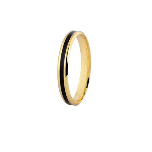 Aliança de ouro 18k com friso preto (4mm)
