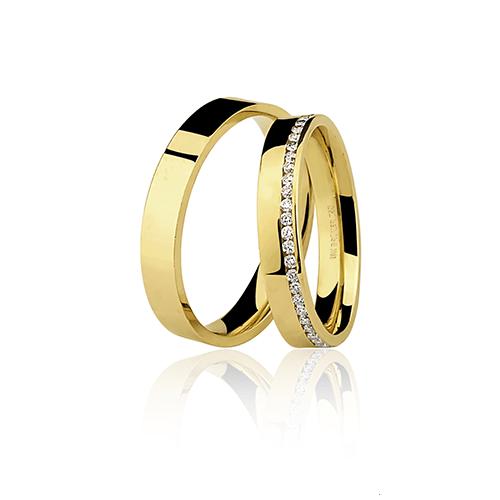 Aliança de ouro 18k com brilhante (4mm)