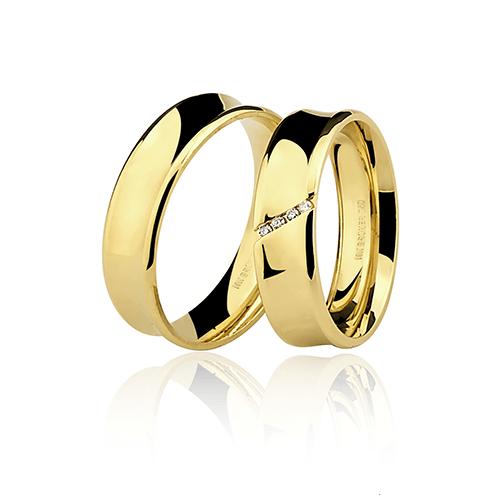 Aliança de ouro 18k diamantada com pedra (6mm)