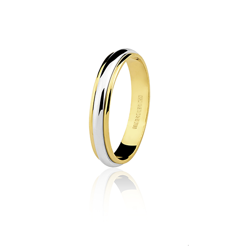 Aliança de ouro 18k bodas prata (3.5mm)