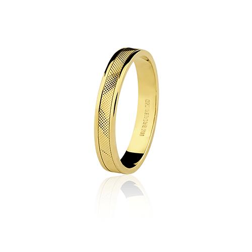 Aliança de ouro 18k diamantada (3.4mm)