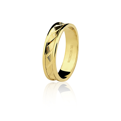Aliança de ouro 18k diamantada (4.4mm)