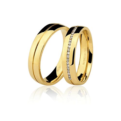 Aliança de ouro 18k polida com brilhante (5mm)