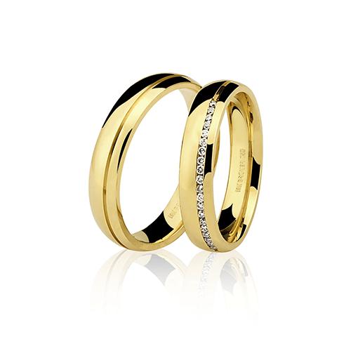 Aliança de ouro 18k polida com brilhante (4.5mm)