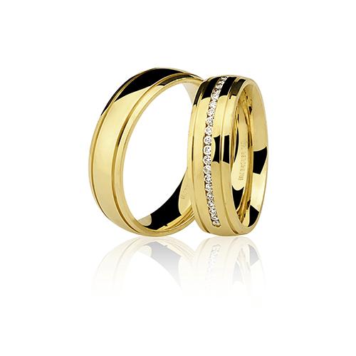 Aliança de ouro 18k com brilhante polida (6mm)