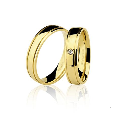 Aliança de ouro 18k lisa com brilhante (5mm)