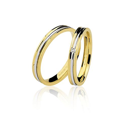 Aliança de ouro 18k lisa com brilhante (3mm)