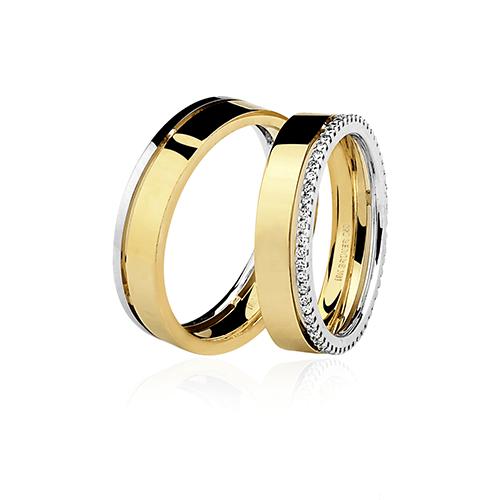 Aliança de ouro 18k polida com brilhante (5.2mm)