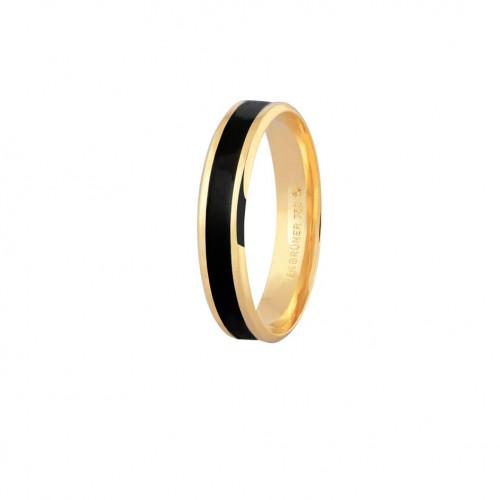 Aliança de ouro 18k com friso preto (6mm)
