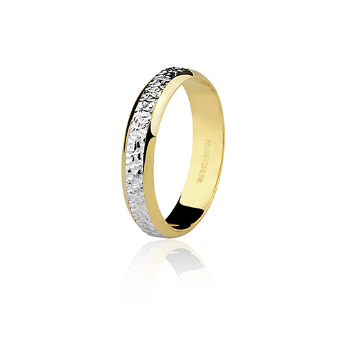 Aliança de ouro 18k bodas de prata (4.4mm)
