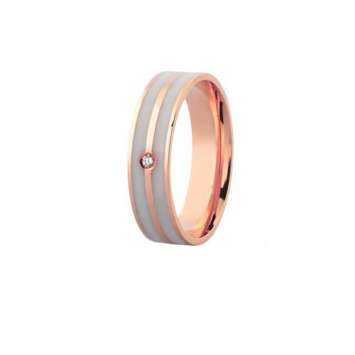 Aliança de ouro rosê com dois frisos branco brilhante (5mm)