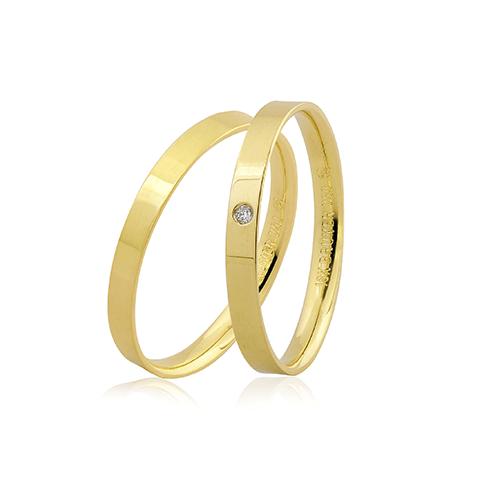 Aliança de ouro 18k polida (2.5mm)