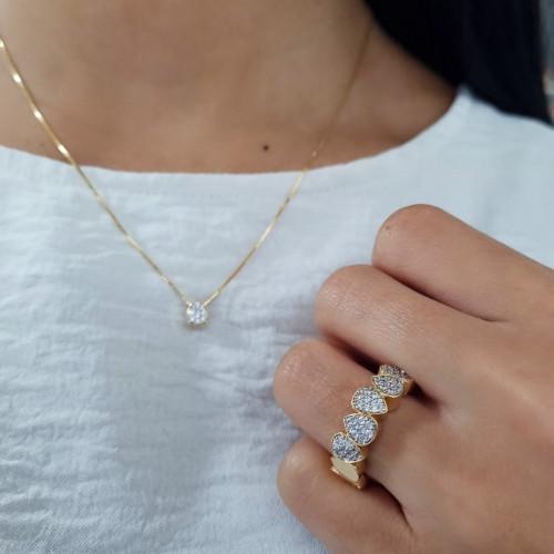 Anel Ouro 18k gotas pavê com diamantes
