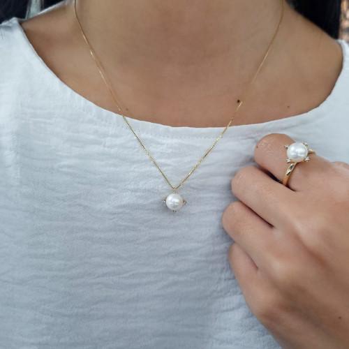 Gargantilha de ouro 18k com pérolas e diamantes