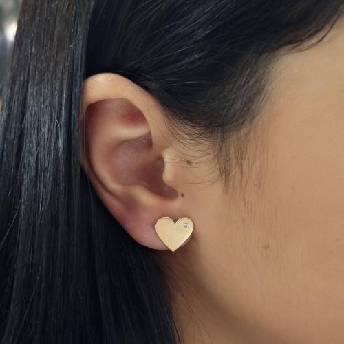 Brinco de ouro 18k coração fosco laser diamante - G
