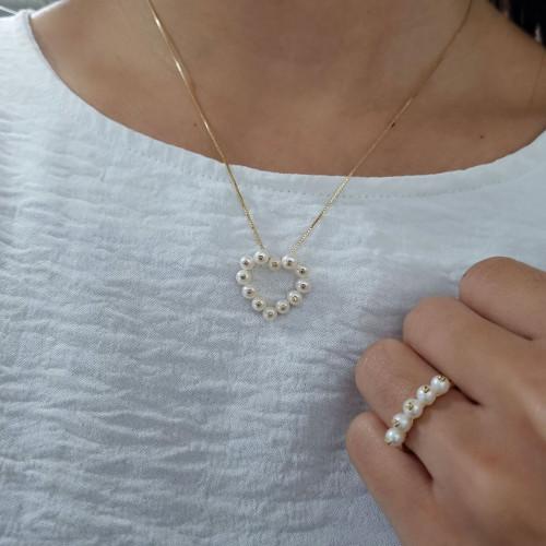 Gargantilha de ouro 18k coração pérolas