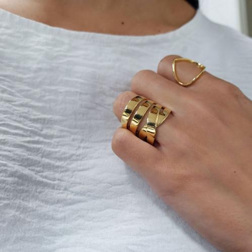 Anel de ouro 18k amarelo estilizado