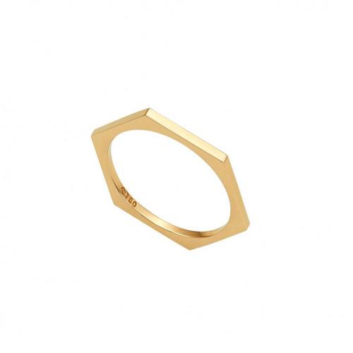 Anel de ouro amarelo 18k hexagonal