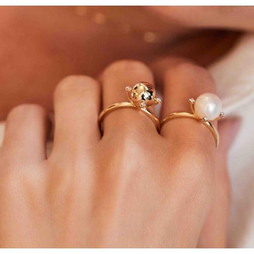 Anel de ouro 18k pérola 8mm e diamantes
