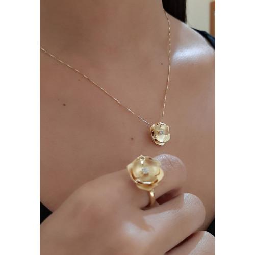 Gargantilha de ouro 18k flo fosca diamantes