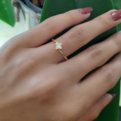 Anel solitário de ouro 18k diamante 0.150ct