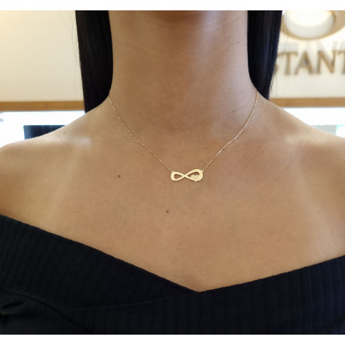 Gargantilha símbolo infinito com coração ouro 18k