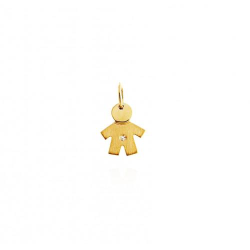 Pingente de ouro menino pequeno corpo fosco diamante