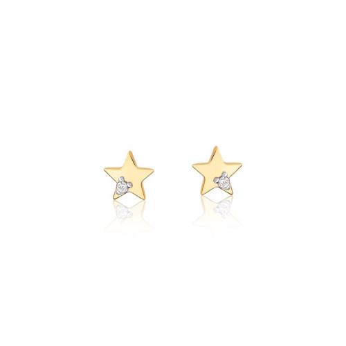 Brinco de ouro 18k estrela com brilhantes