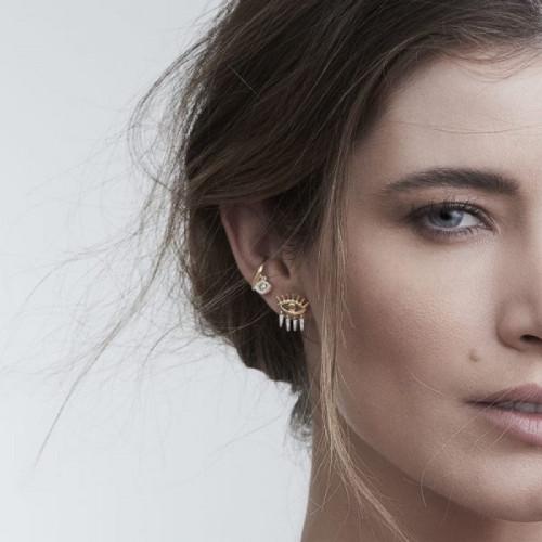 Piercing de ouro 18k olho grego brilhantes