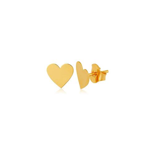Brinco de ouro 18k coração corte a laser - M