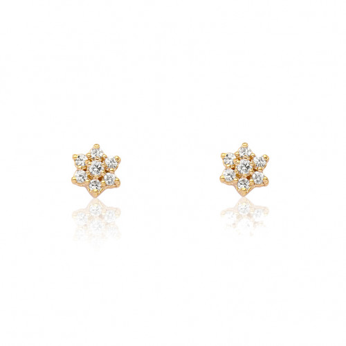 Brinco de ouro 18k infantil florzinha com diamantes