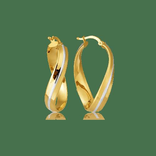Brinco de ouro 18k argola oval torcida com detalhe em ródio branco