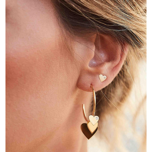 Brinco de ouro 18k coração fosco laser diamante - P