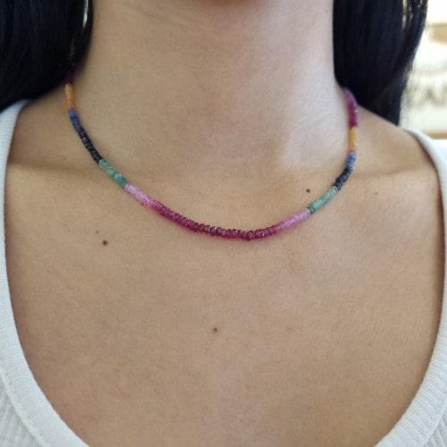 Gargantilha gemas naturais coloridas