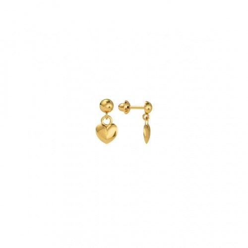 Brinco infantil de ouro amarelo 18k coração pendurado