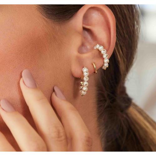 Piercing de orelha pérolas ouro 18k