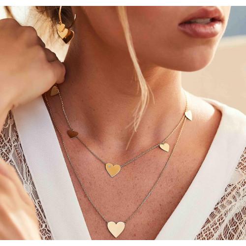 Gargantilha de ouro 18k corações