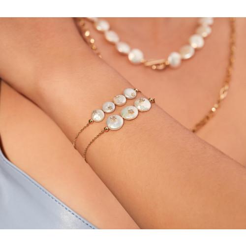 Pulseira de ouro feminina três madrepérolas com diamantes