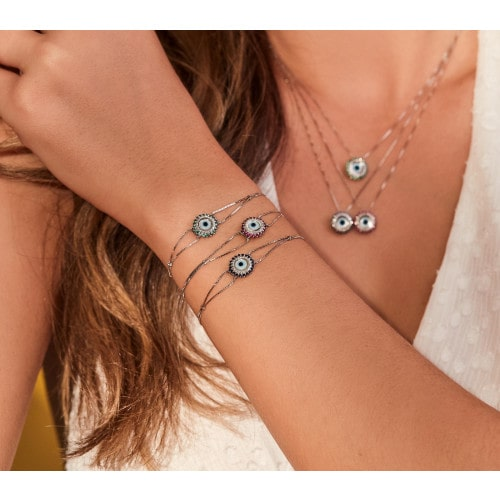 Pulseira de olho grego ouro 18k esmeralda com diamantes